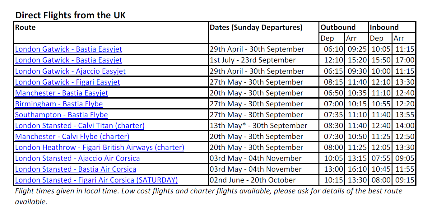 Direct flights from UK to Corsica