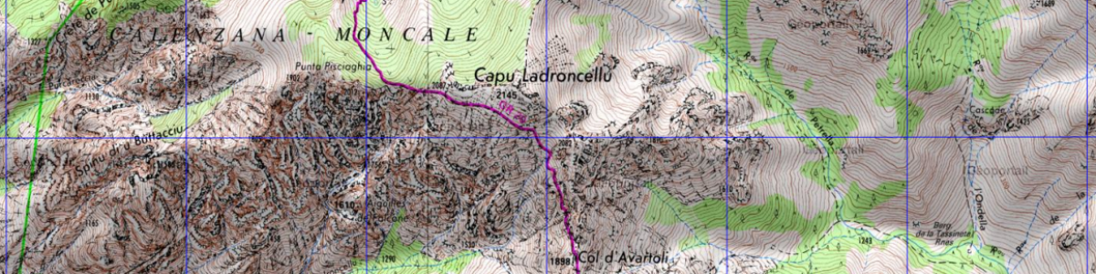 Etape 2 du GR20 : carte IGN entre Ortu di u Piobbu à Carrozzu