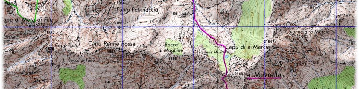 Etape 3: carte IGN entre Carozzu et la station d'Ascu Stagnu