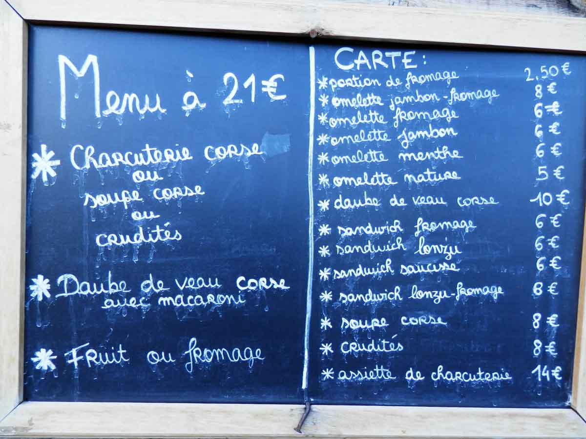 Exemple prix menus